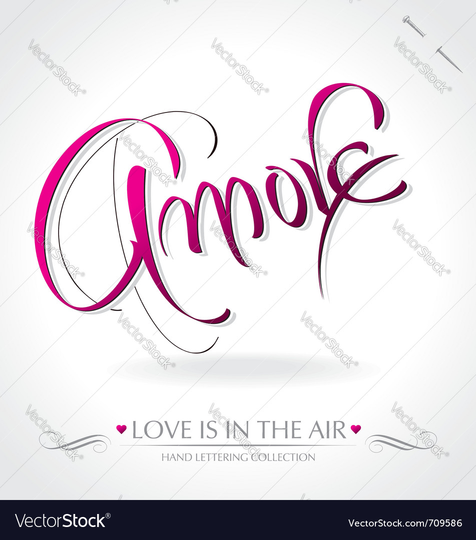 Amore hand lettering Vector Image