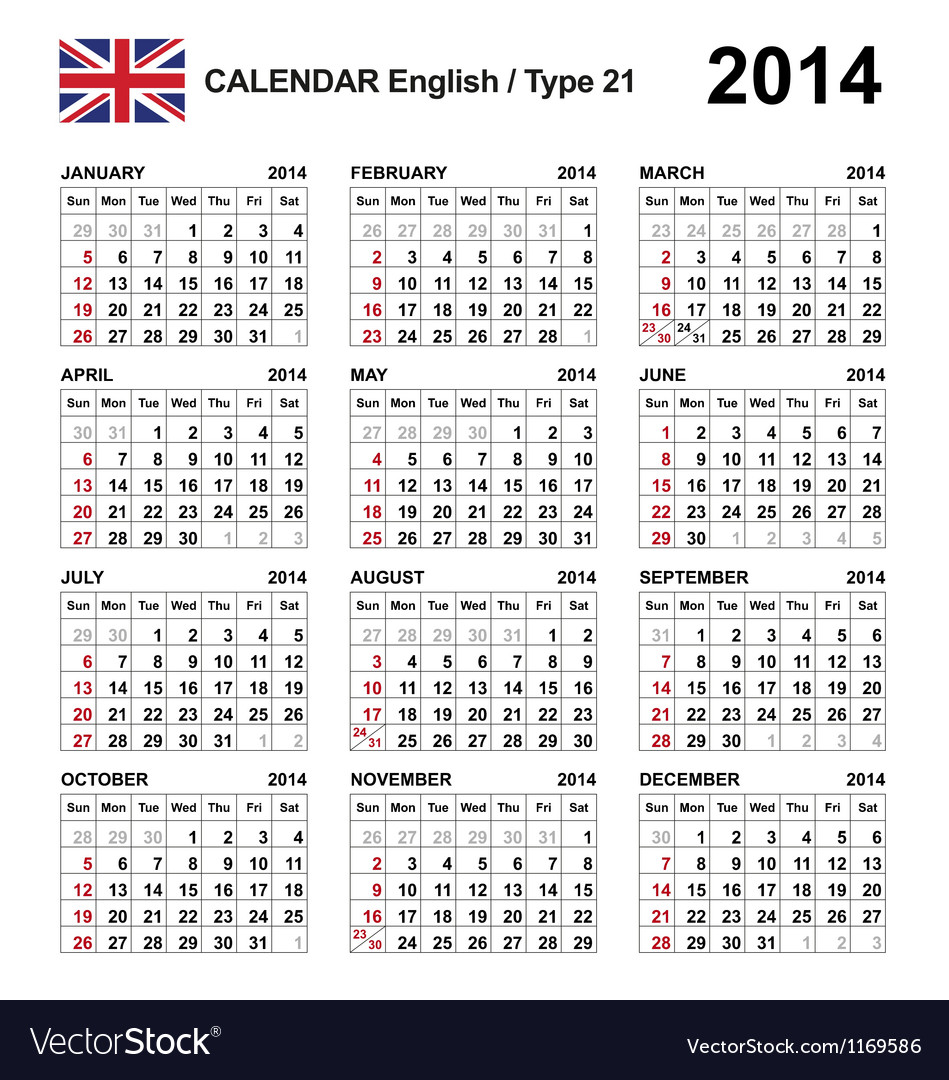 Calendar 2014 English Type 21 vector image