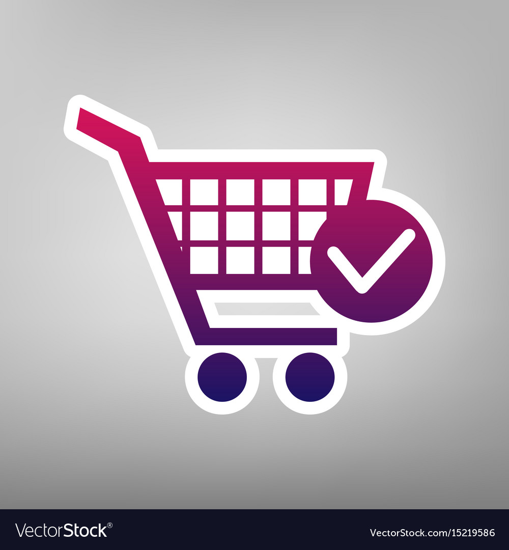 Shopping cart with check mark sign purple vector image