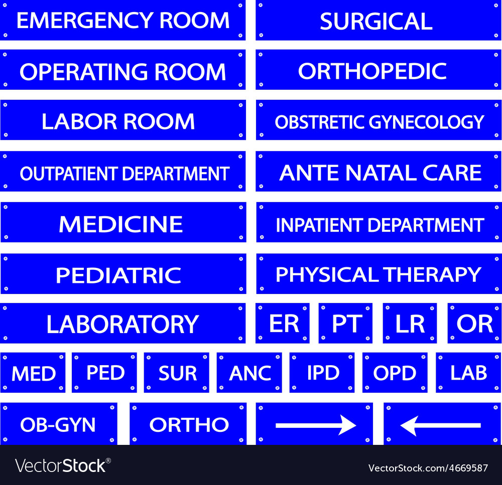 Set of Blue Hospital Sign and Medical Abbreviation vector image