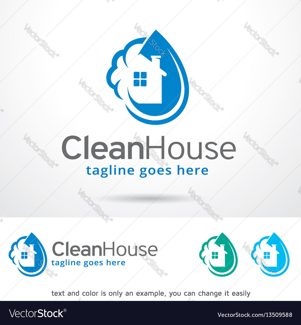 Clean house logo template vector image