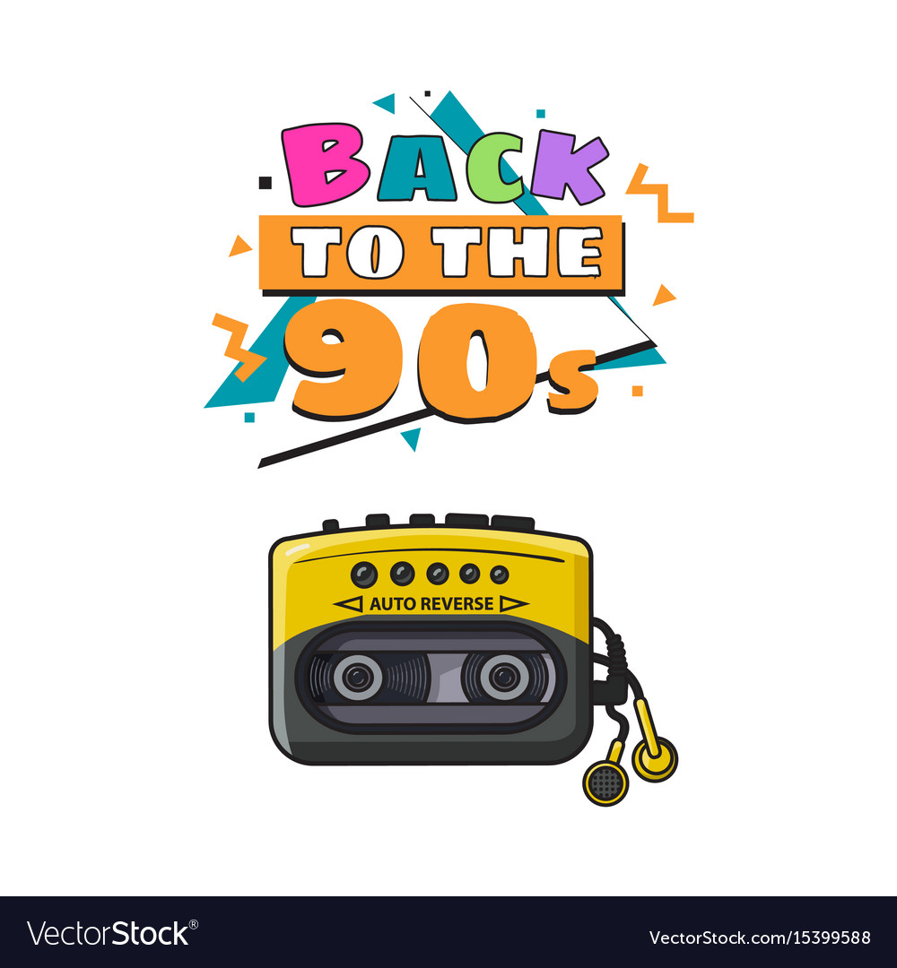 Old fashioned black and yellow audio player from vector image