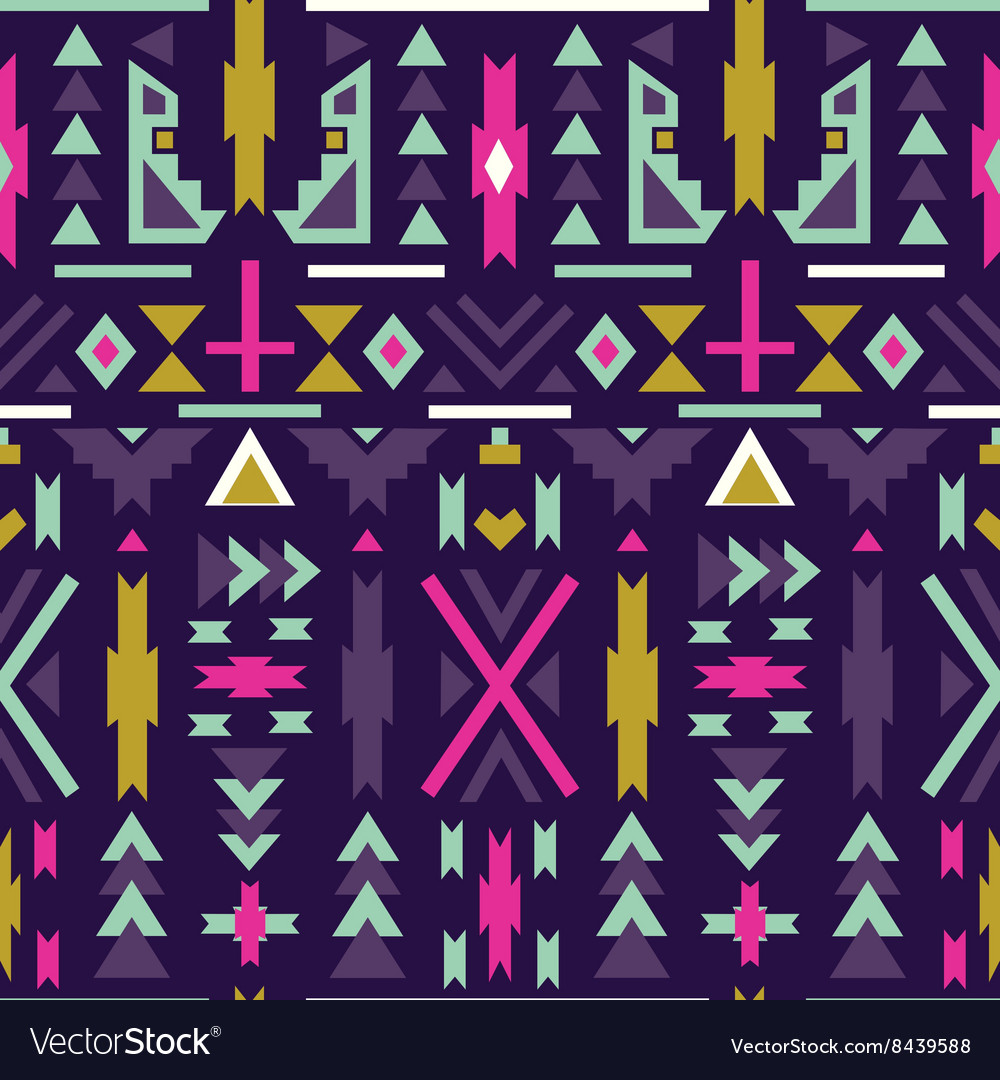 Seamless colorful aztec pattern Dark background vector image