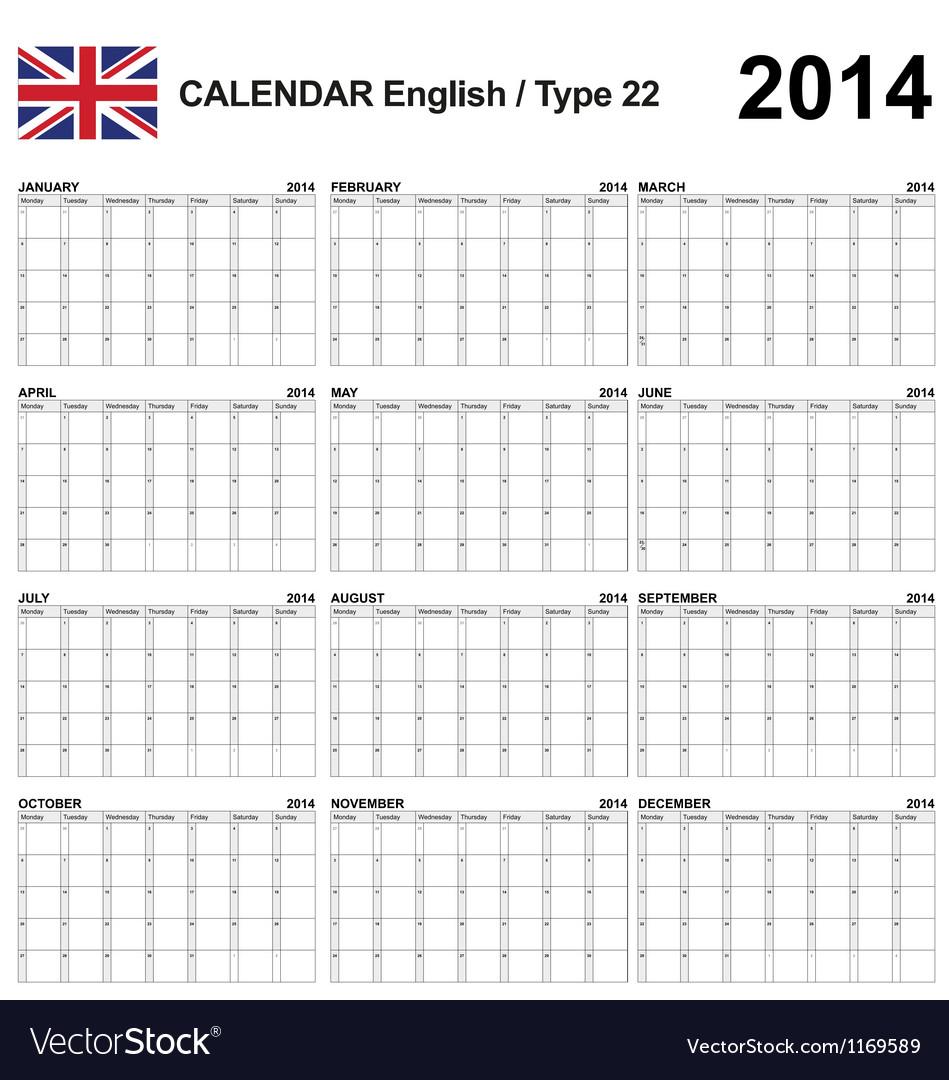 Calendar 2014 English Type 22 vector image