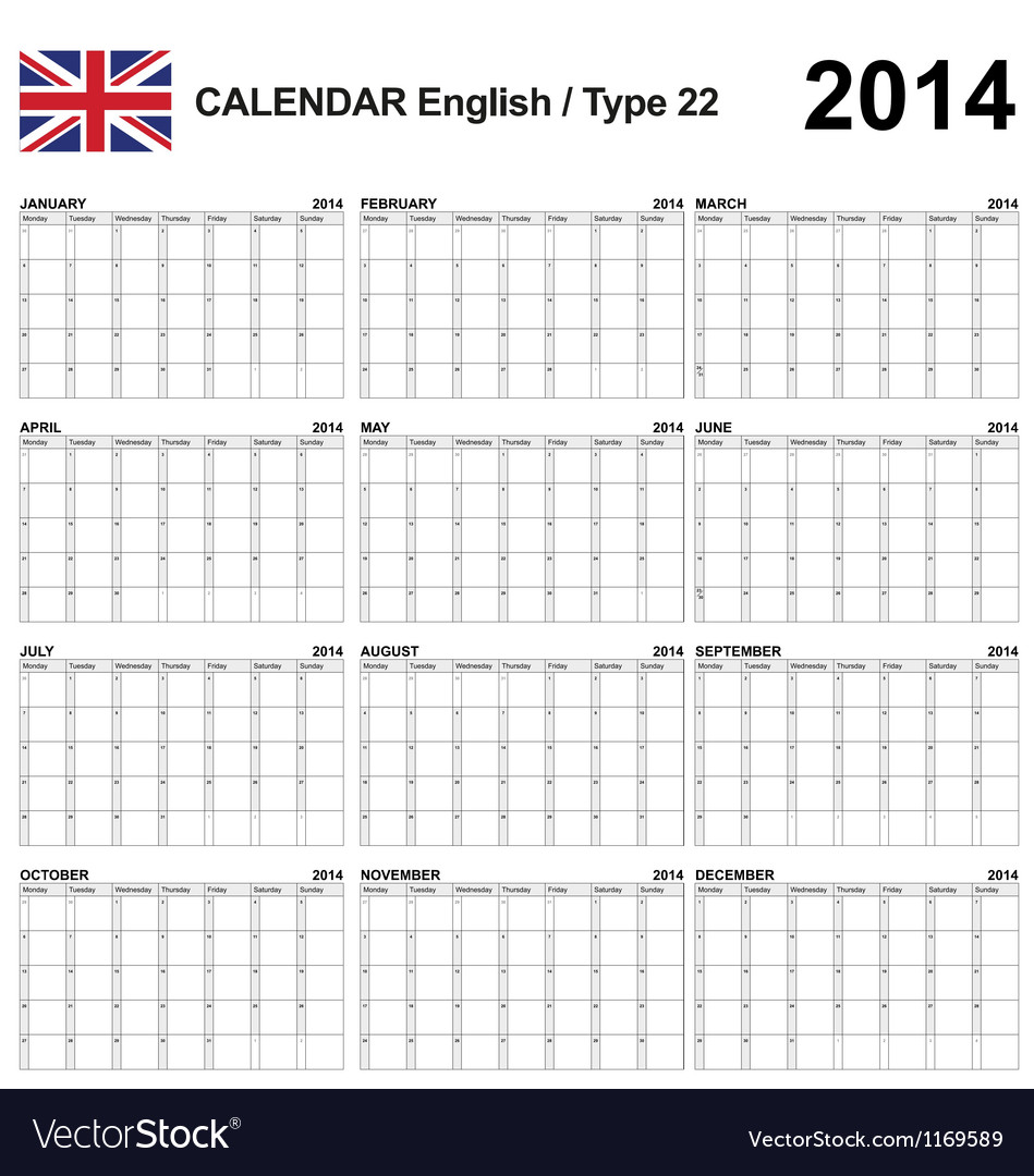 Calendar 2014 English Type 22 vector image
