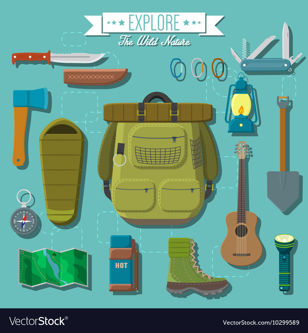Flat design modern of camping and hiking equipment vector image