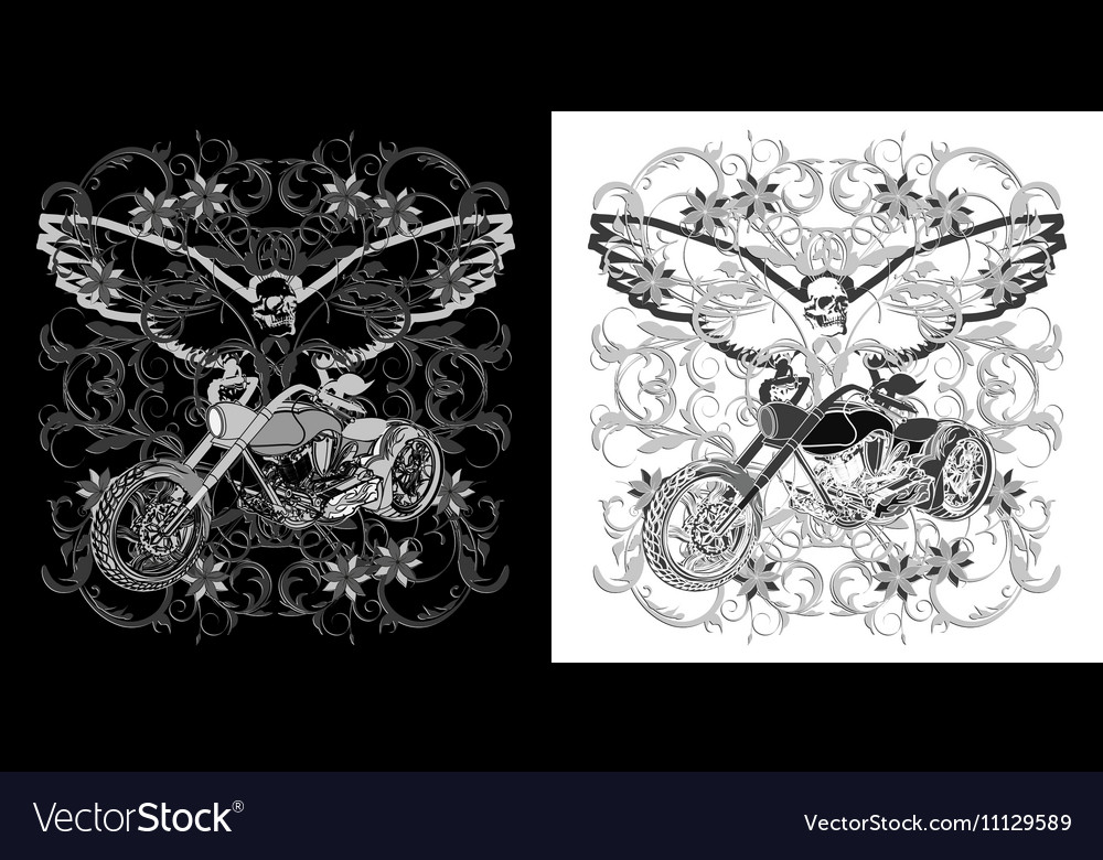 Floral background with a motorcycle and an eagle vector image