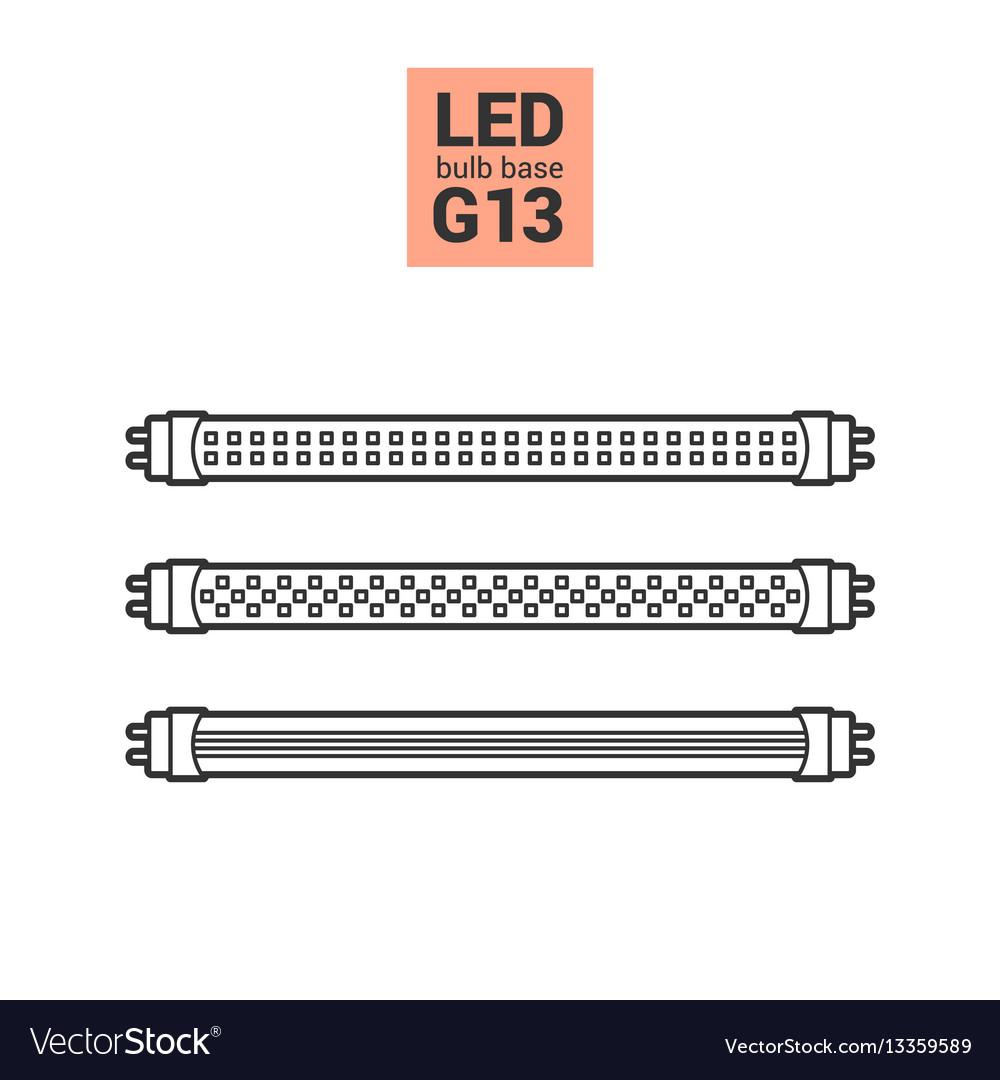 Led light g13 bulbs outline icon set vector image