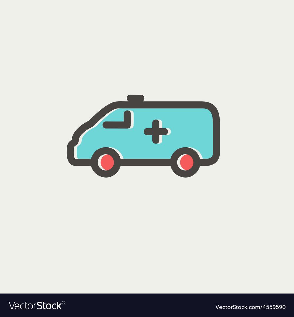 Ambulance car thin line icon vector image