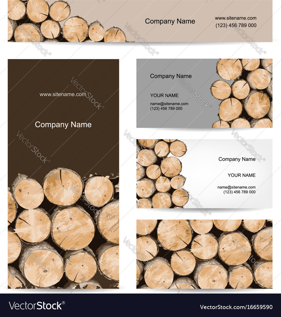 Business cards design stack of wood Royalty Free Vector