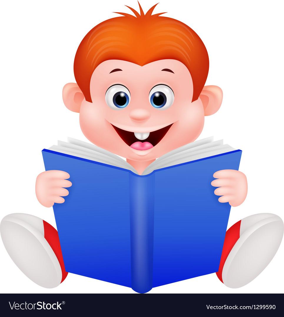 Cartoon boy reading a book vector image