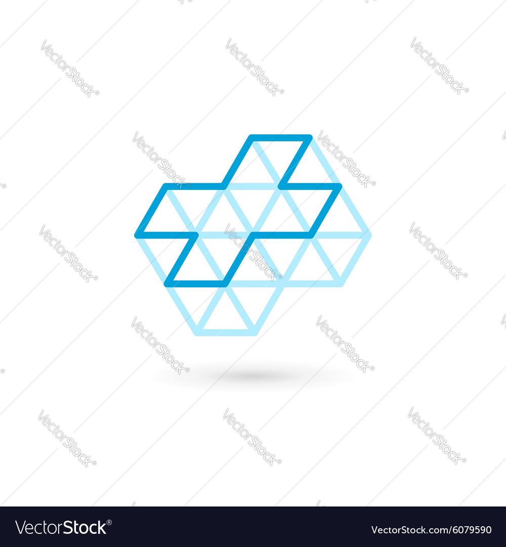 Cross plus medical logo icon design template vector image