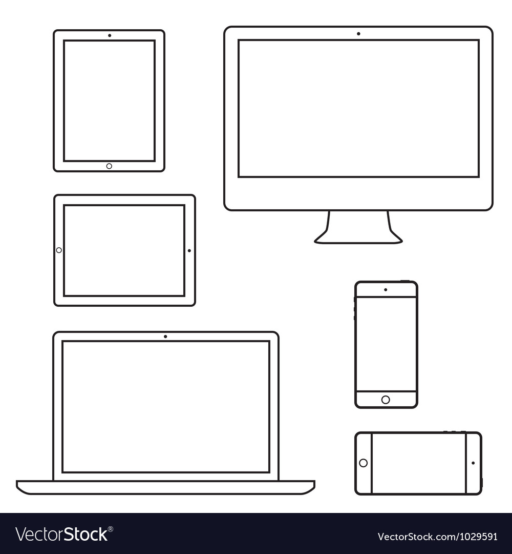 Computer laptop tablet phone isolated outlines vector image