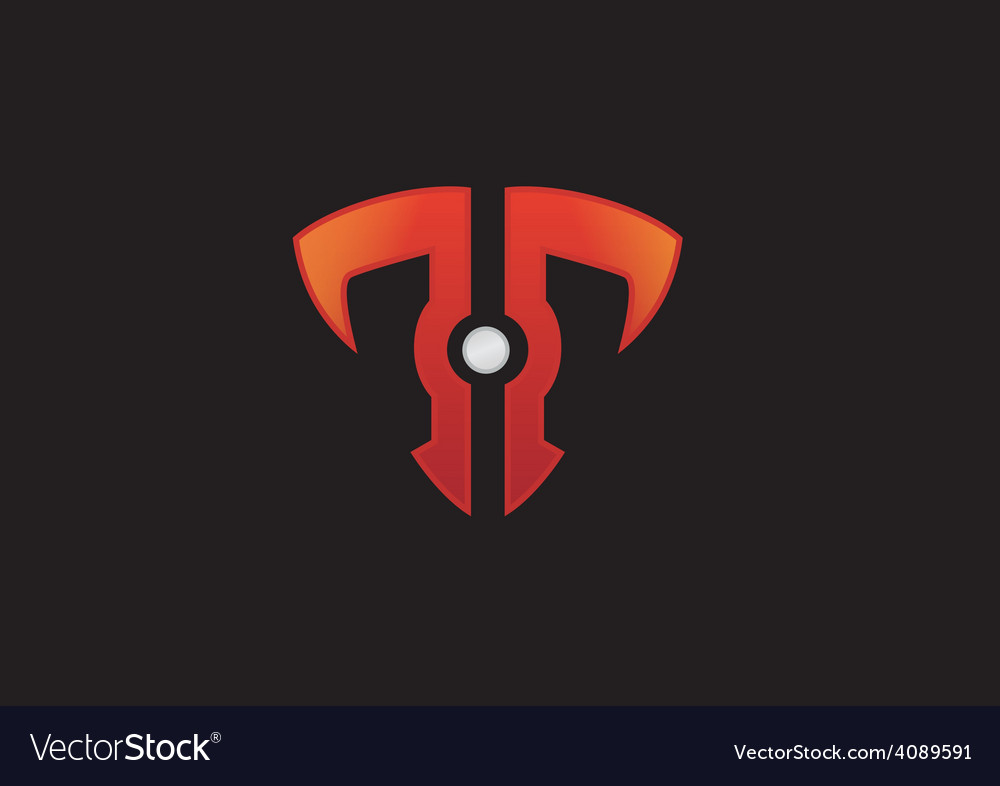letter t technolgy shield business logo royalty free vector