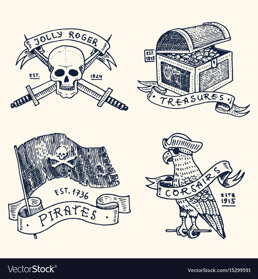 Set of engraved hand drawn old labels or badges vector image