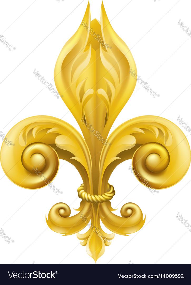 Gold fleur-de-lis design vector image