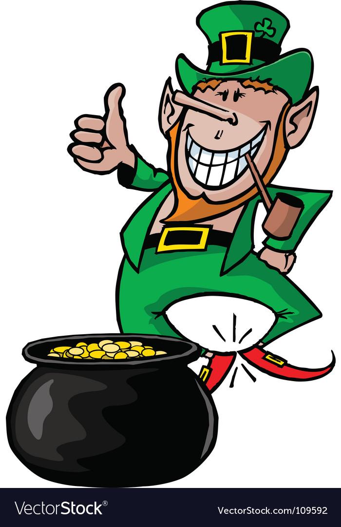 Leprechaun with pot vector image