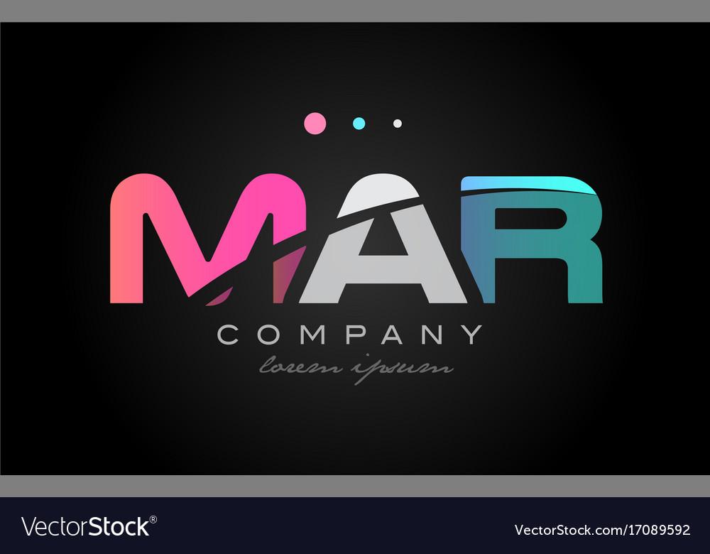 Mar m a r three letter logo icon design Royalty Free Vector