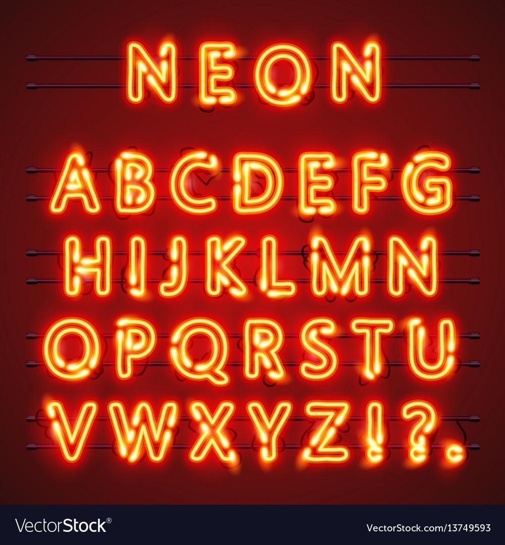 Neon font text lamp sign alphabet vector image