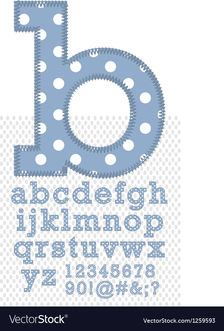 Set of stitched font vector image