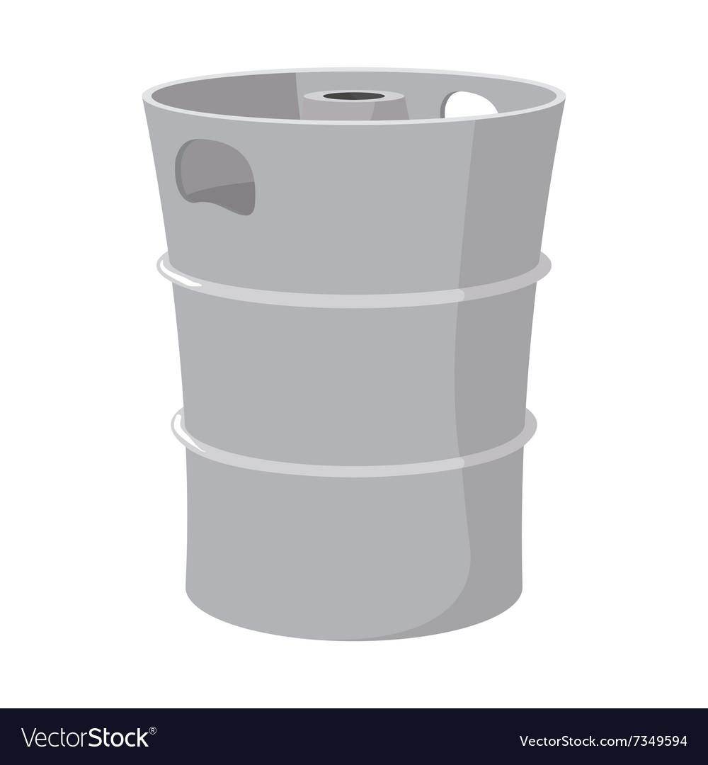 Metal beer keg cartoon icon vector image