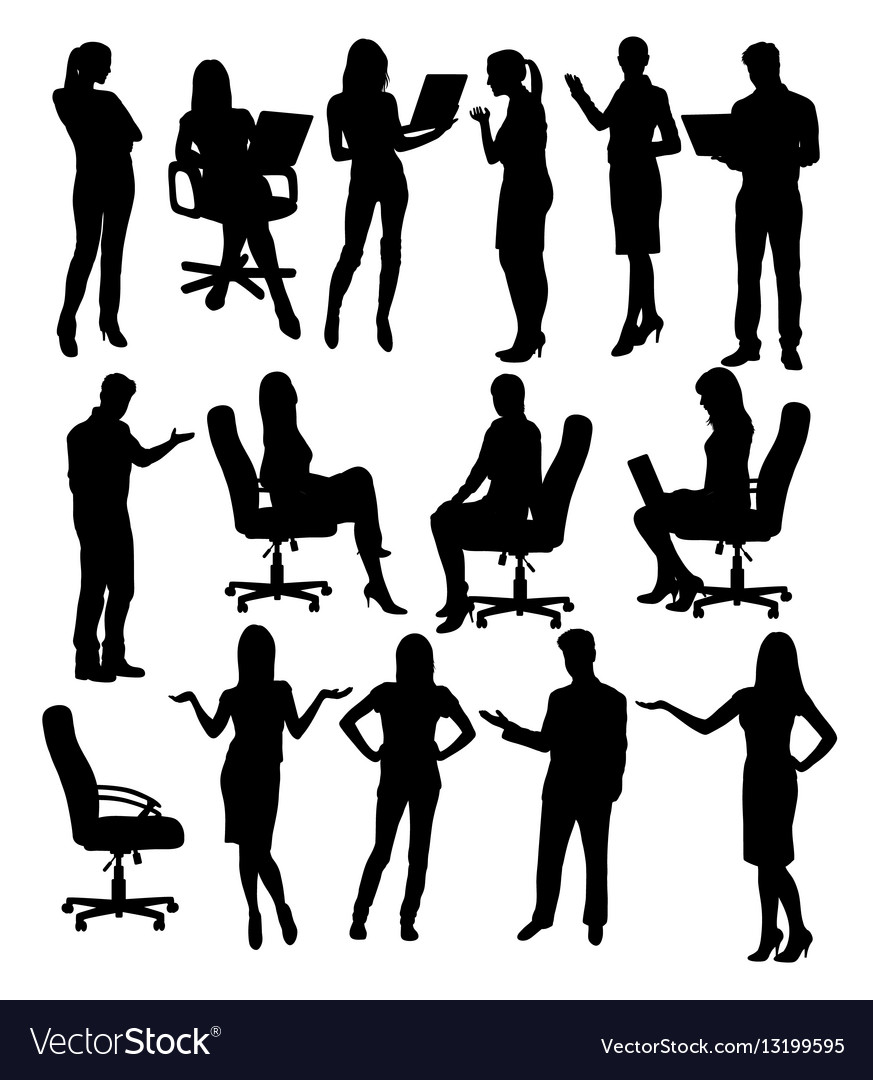 Career silhouette female workers vector image