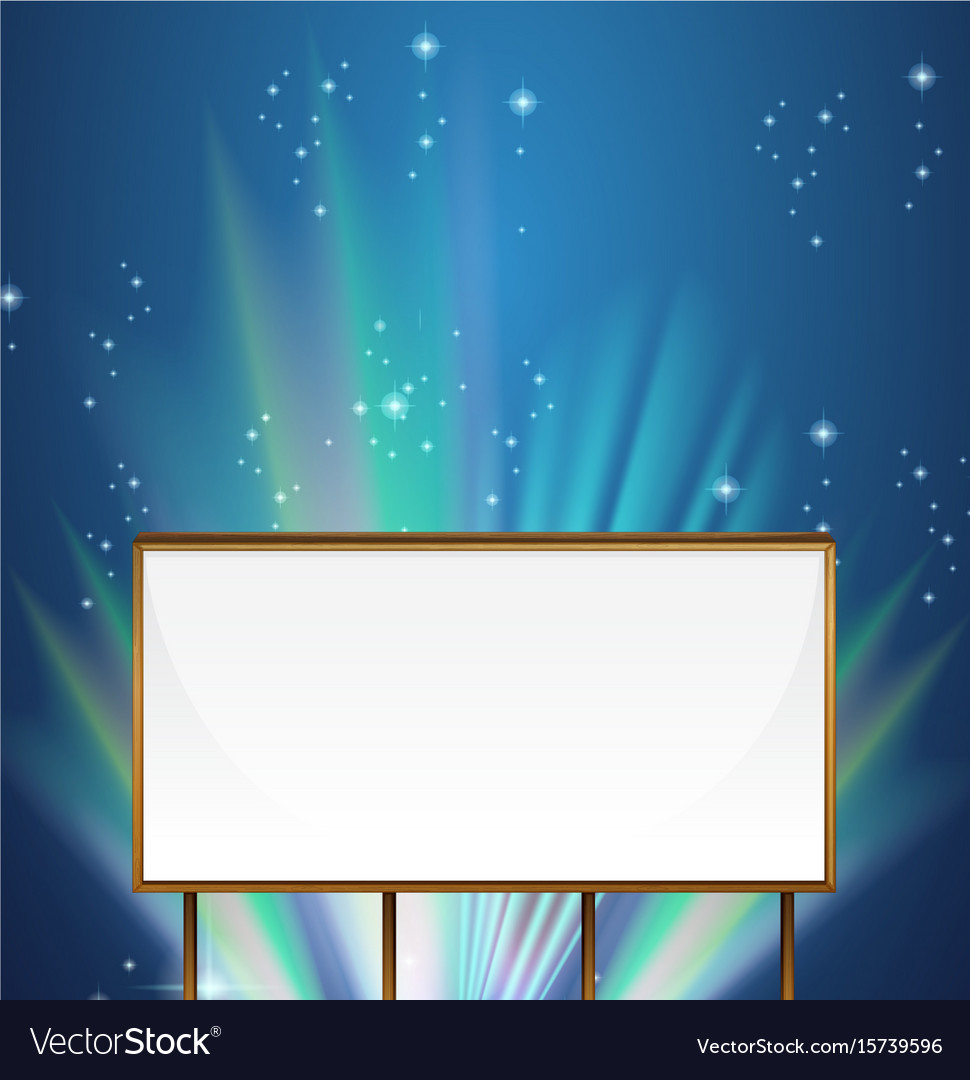 Whiteboard template with aurora sky in background vector image