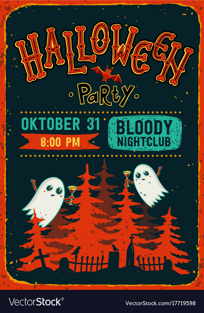 Halloween party halloween party invitation flyer vector image