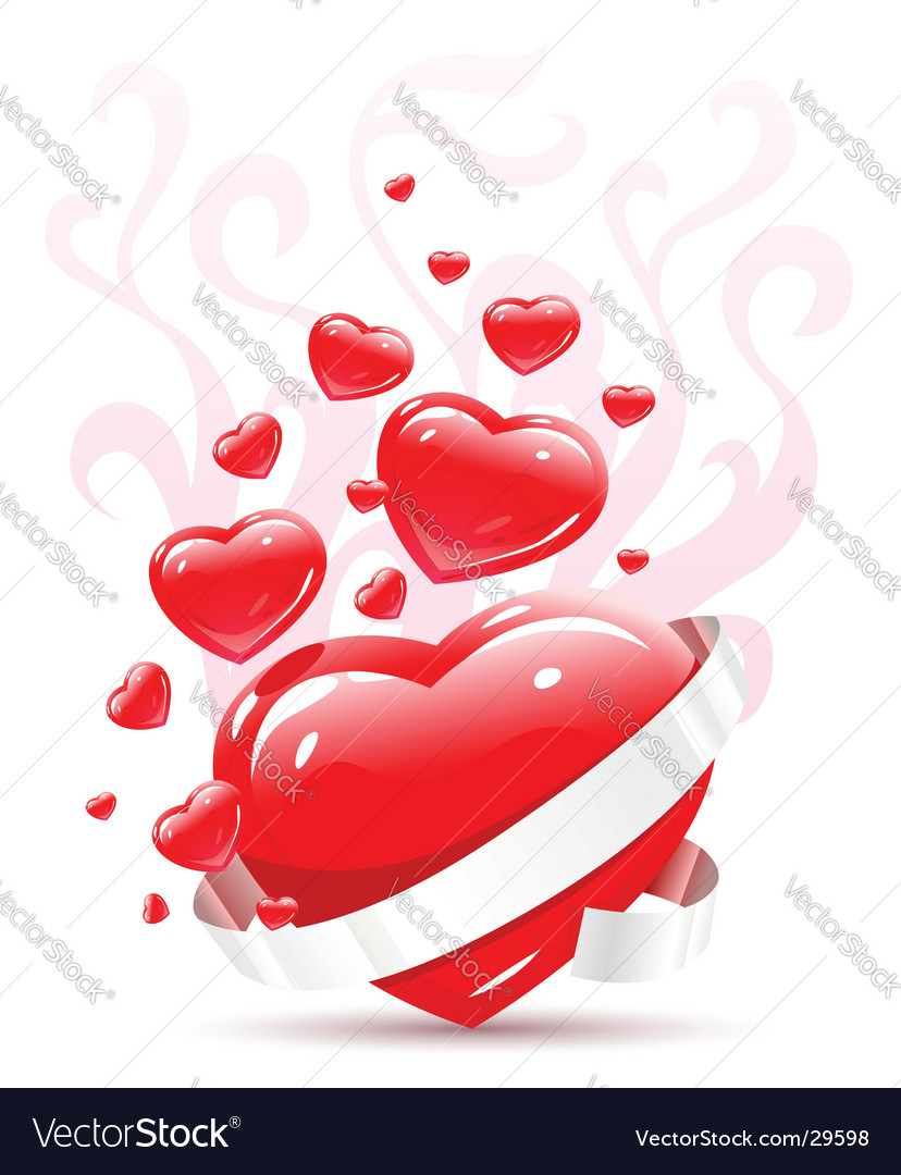 Valentines ornament with red love heart vector illustration. Keywords: