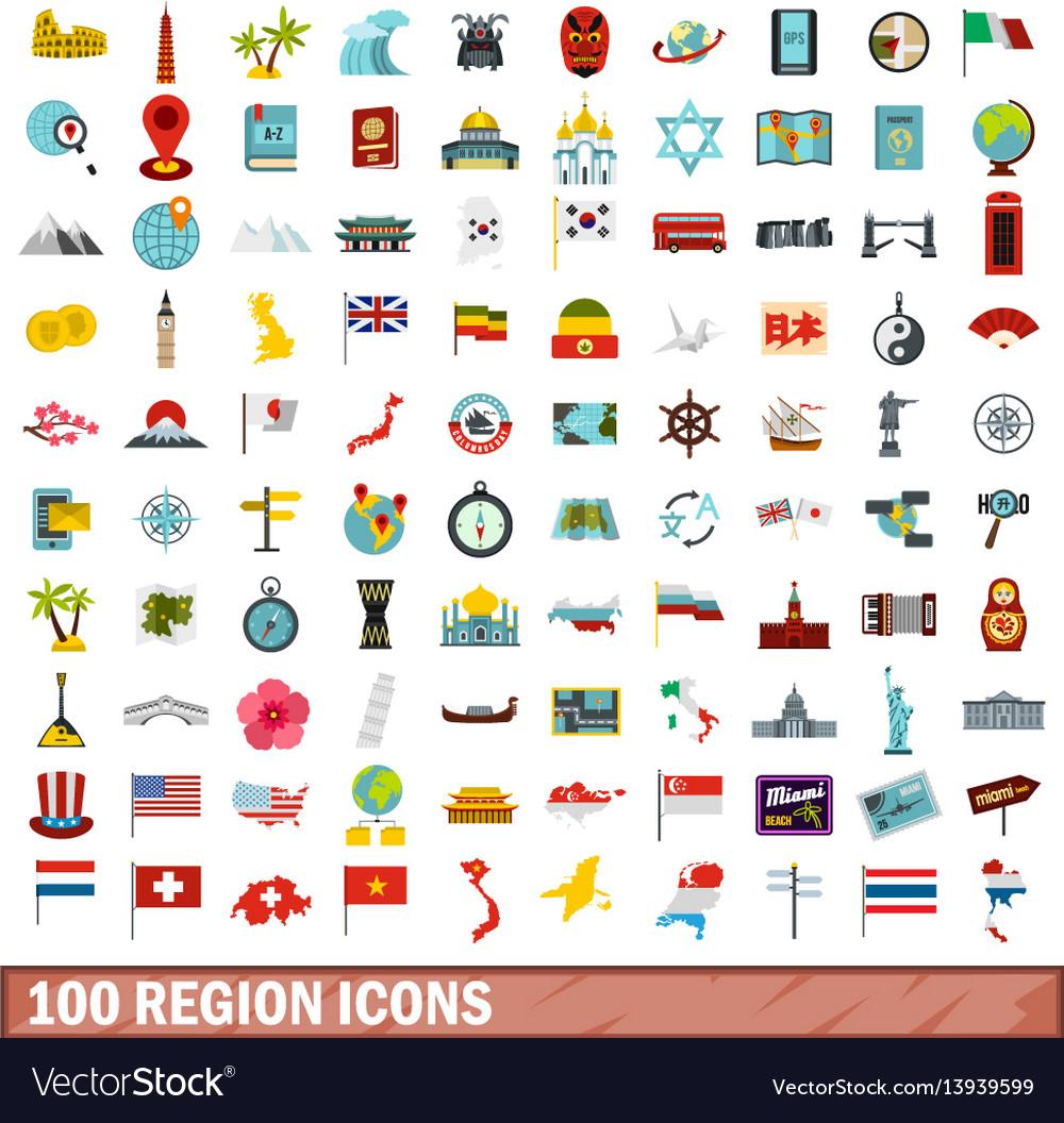 100 region icons set flat style vector image