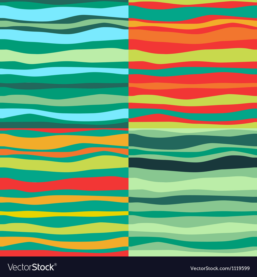 Color Waves Lines Seamless Background Set of 4 vector image