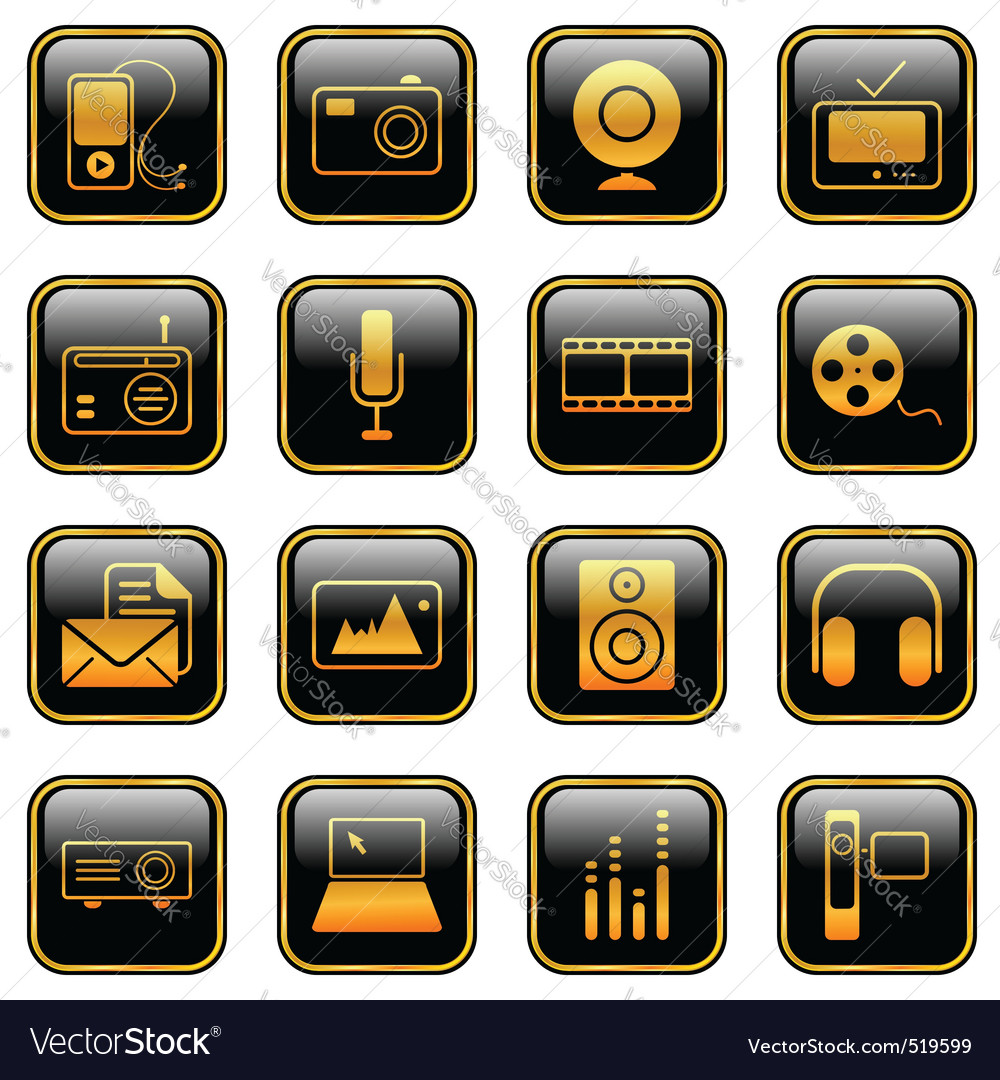 Mass media icons golden vector image