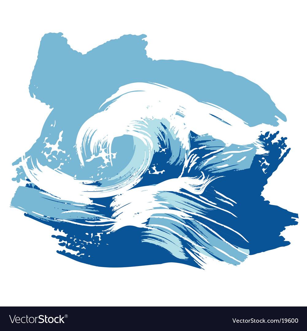 Stylized brushed ocean waves splash vector image