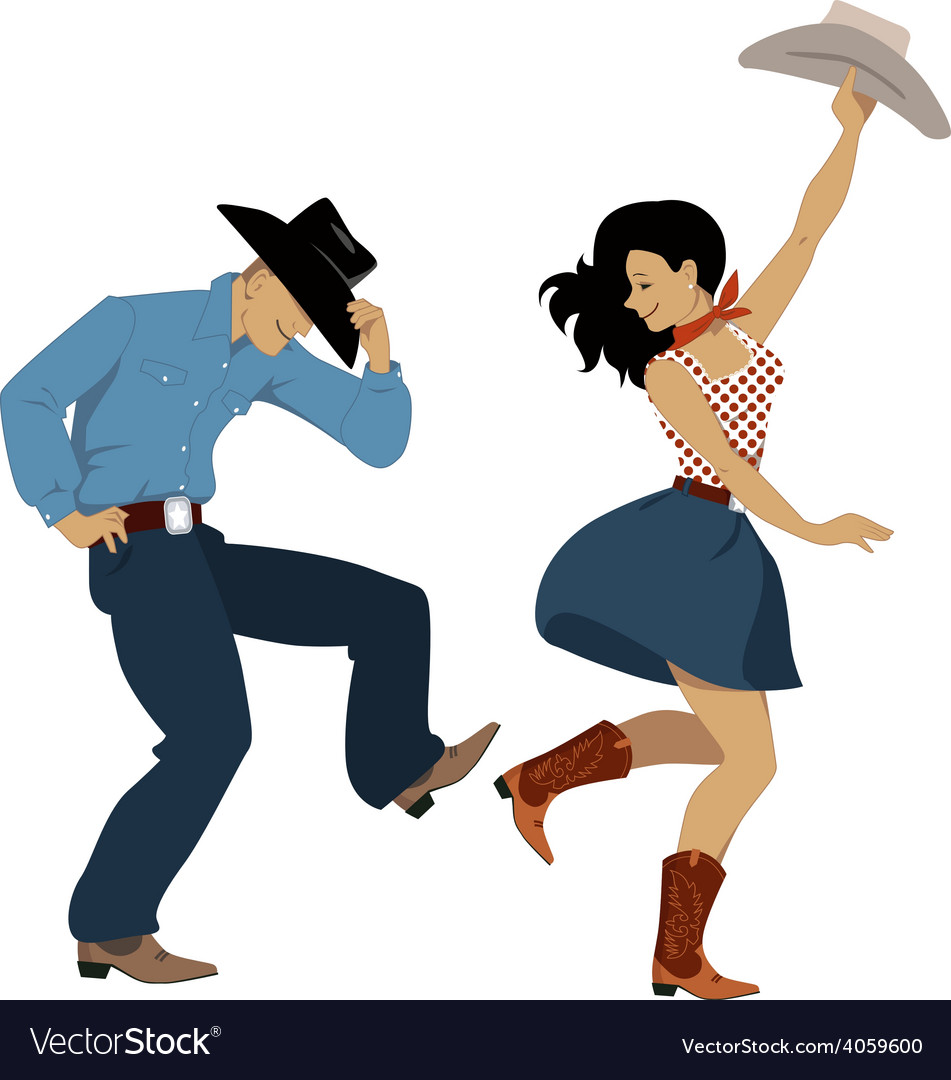 Country western dancers vector image