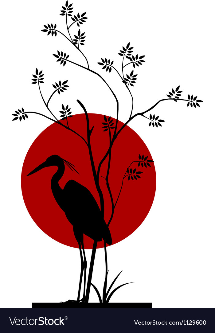 Heron silhouette with giant moon background vector image