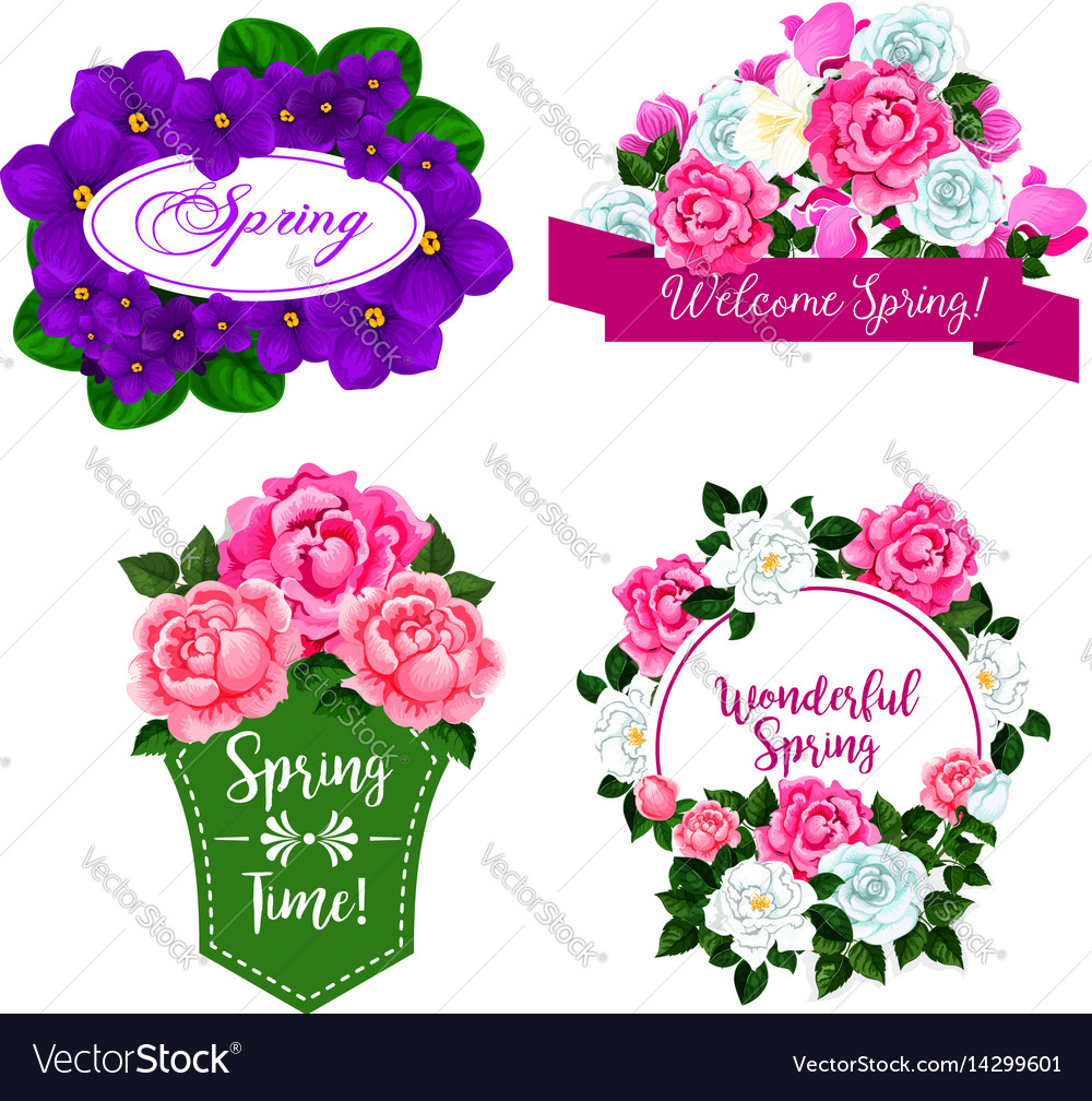 Flowers bouquets for spring greeting quotes Vector Image