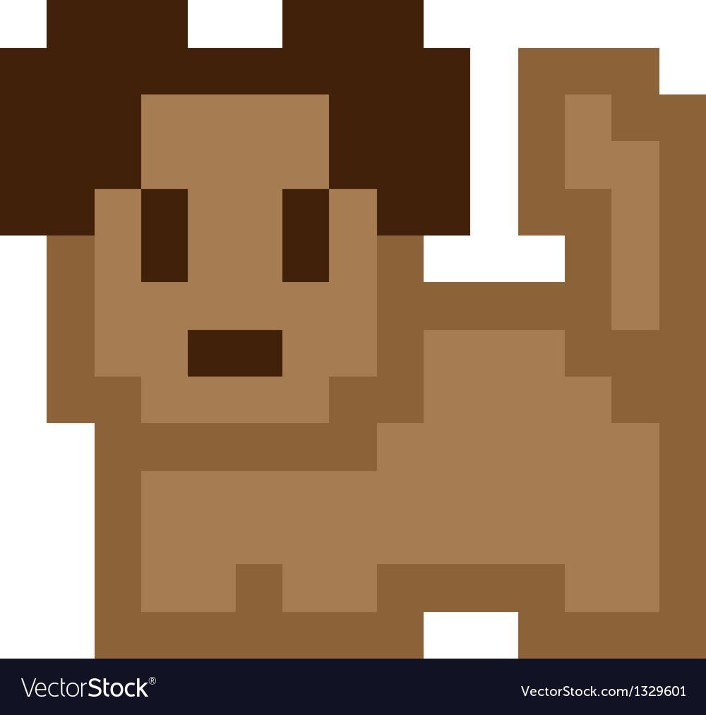 Pixel Art Brown Dog Vectorstock