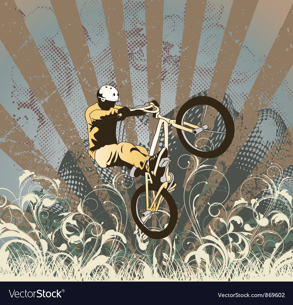 Biker with grunge vector image