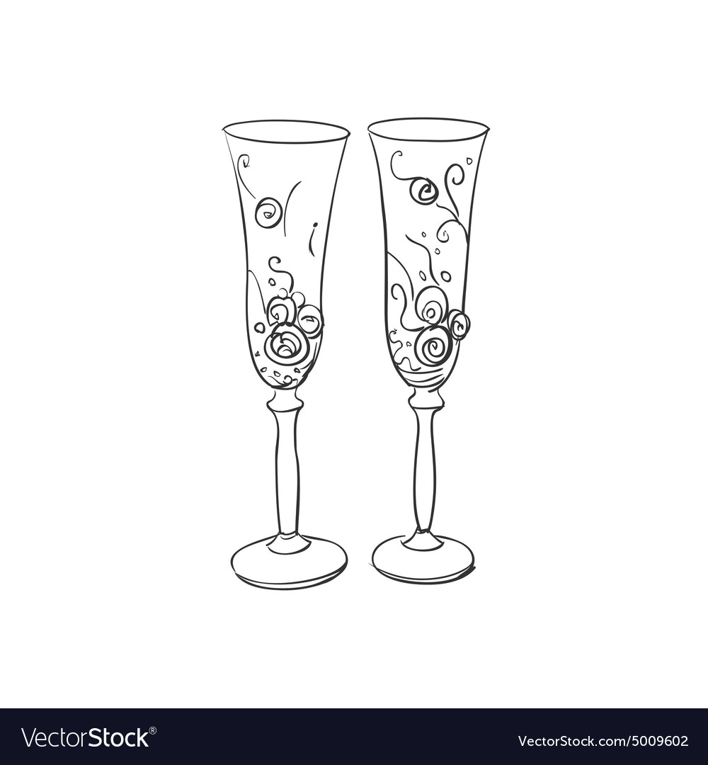 doodle wedding glasses royalty free vector image