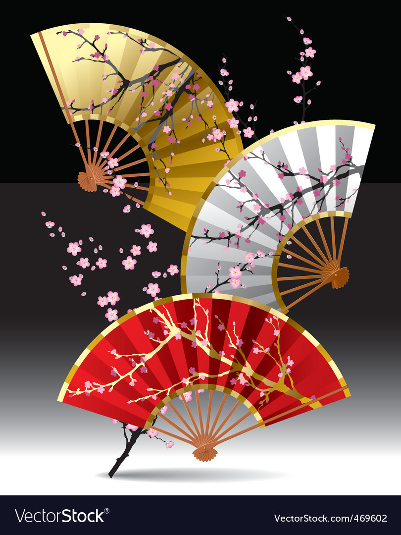 Japanese fans Royalty Free Vector Image - VectorStock