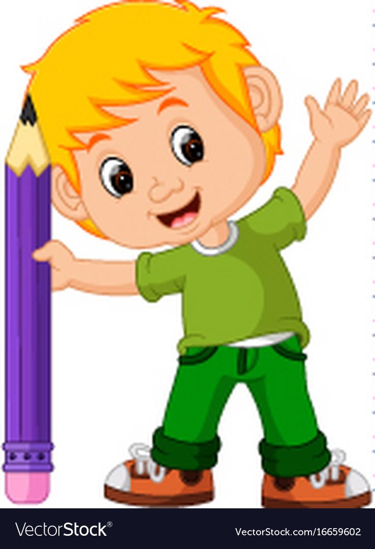 Kids boy with big pencil cartoon vector image