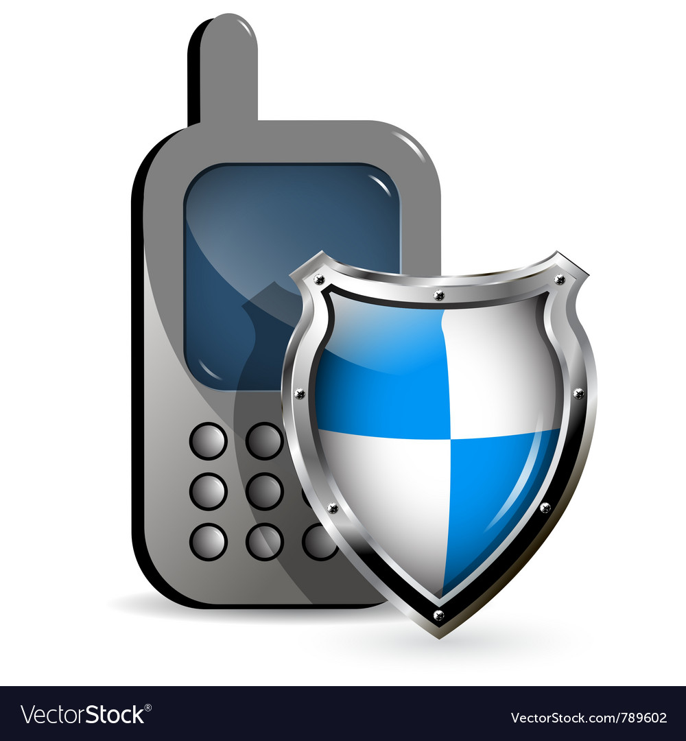 Phone and shield vector image
