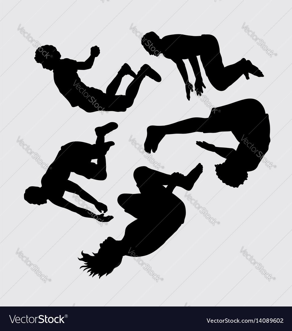 Teen people jumping sihouette vector image