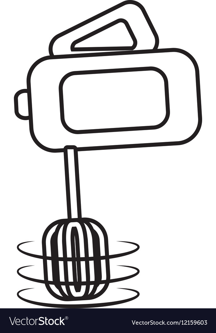 Electric mixer cooking kitchen appliance outline vector image