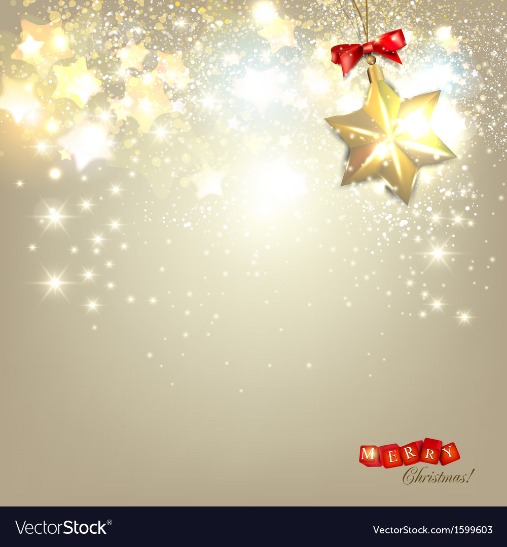 Elegant Christmas background with golden stars and vector image