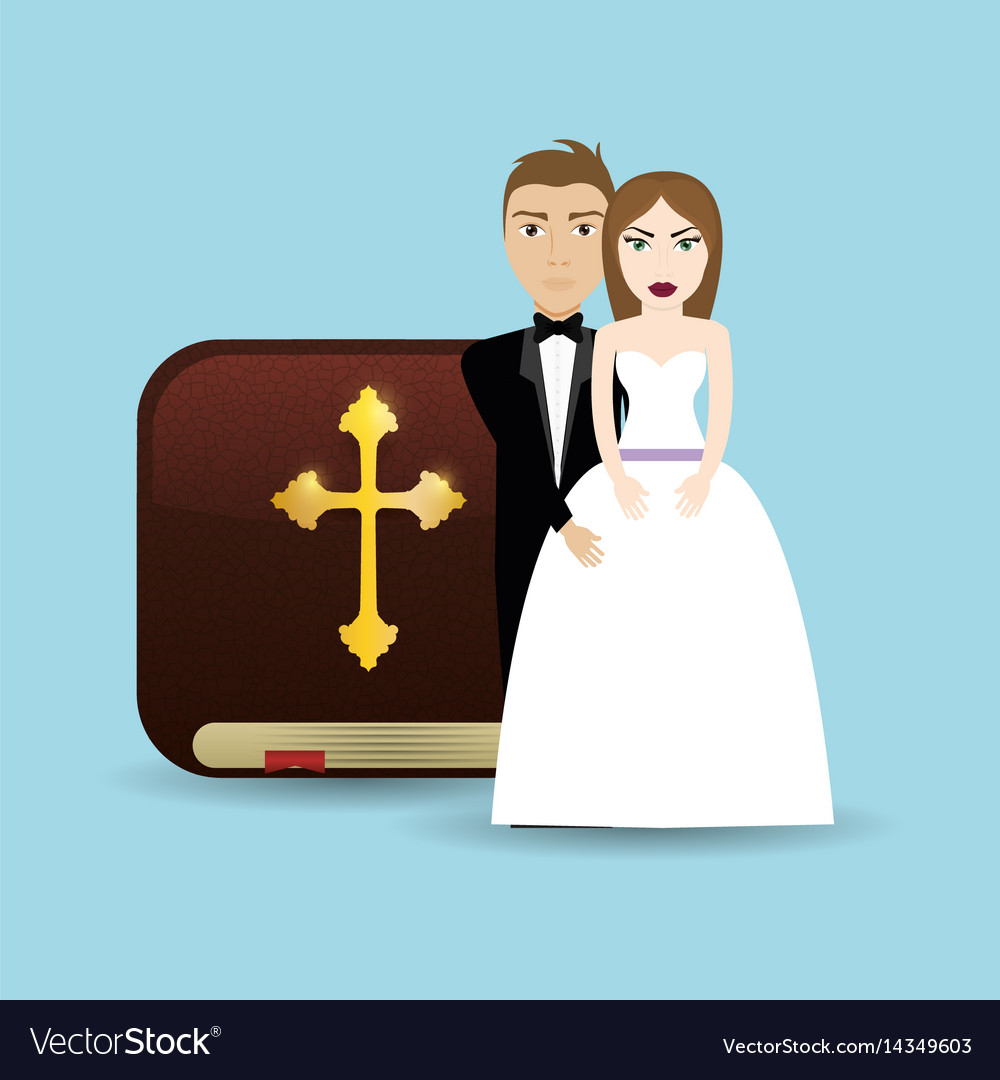 Get married couple bible card wedding vector image