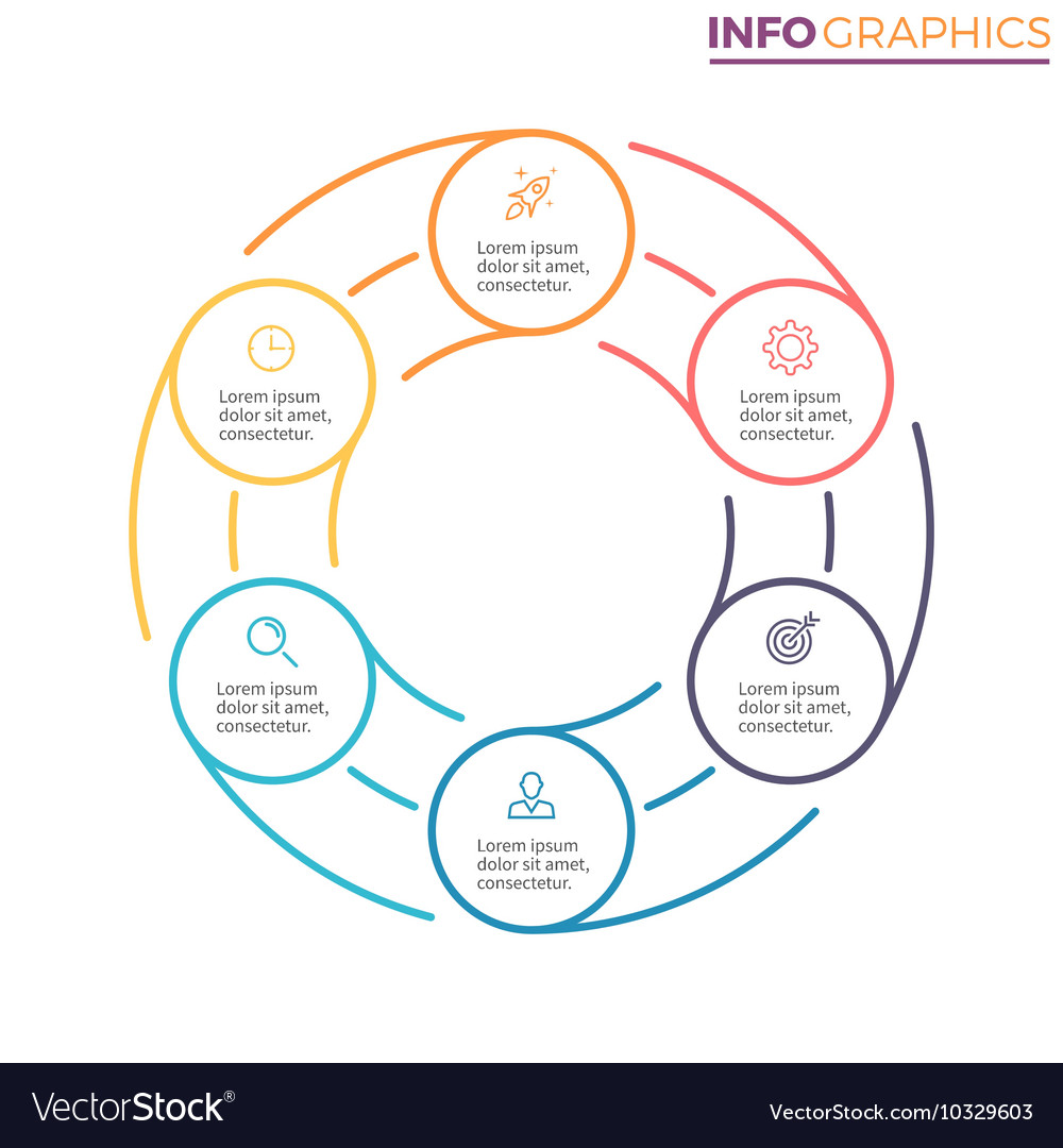 Linear infographics Chart with 6 steps options vector image