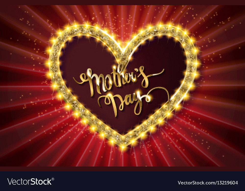 Mothers day typographic card red version vector image