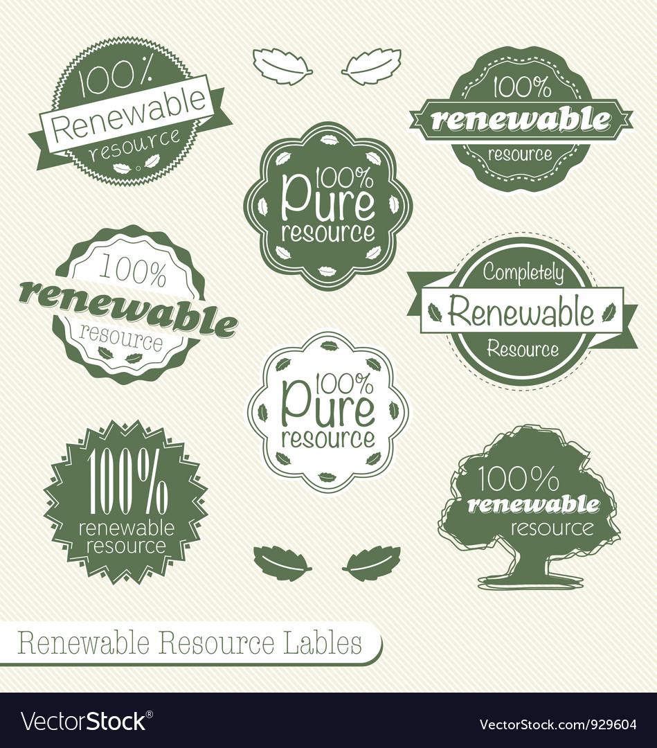 Renewable Resource Labels vector image