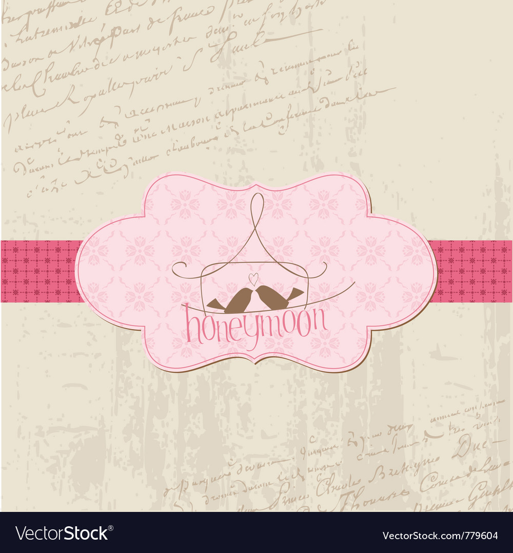 Vintage wedding love card - for design invitation vector image
